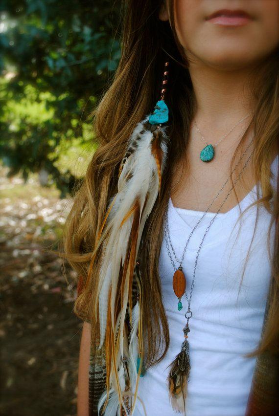 Turquoise veer haar sieraden. Verlenging van de veer, haar spiraal of angst Wrap. Bohemien, Hippie, One of a Kind