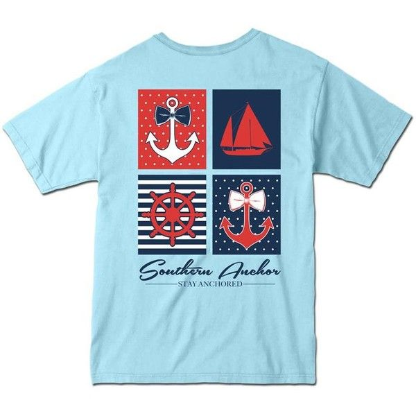 Southern Anchor Nautical T-Shirt featuring polyvore, fashion, clothing, tops, t-shirts, shirts, tees, nautical tee, nautical tops, t shirts, nautical t shirts and blue top