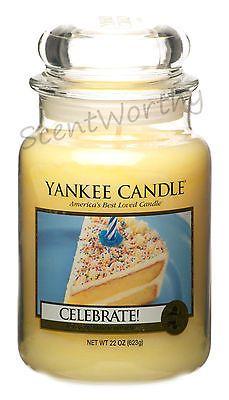 YANKEE CANDLE Celebrate! 22 oz Jar Candle plus Cake Stand Jar Holder FREE SHIP