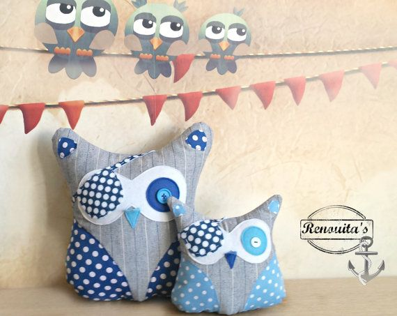 Discount Pirate pair stuffed Owl kid's room decor  by Renouitas