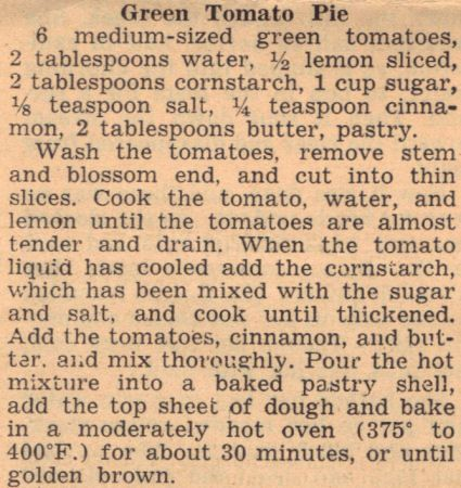 Vintage Recipe Clipping For Green Tomato Pie