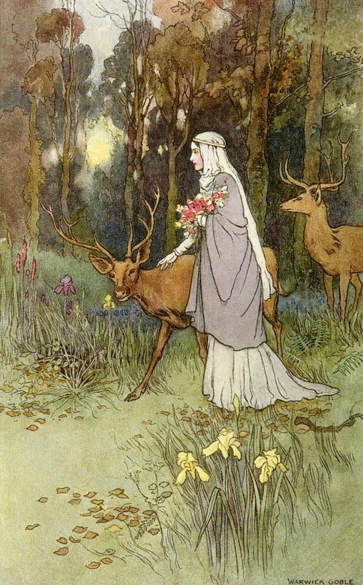 The dun deer wooed with manner bland,   And cowered beneath her lily hand. ~illustration by Warwick Goble to Kilmeny, The Book of Fairy Poetry