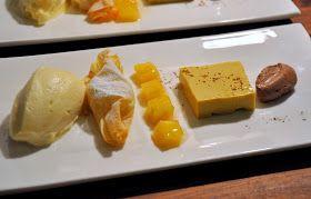 Ananas-Sorbet, marinierte Ananas, Safran-Kokos-Panna-Cotta, Bananenstrudel