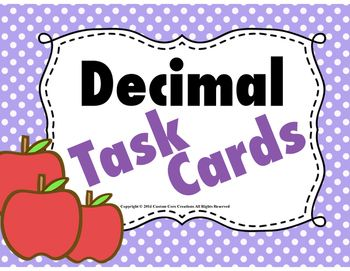 $ These tasks cards are a wonderful tool to help the your students understand decimal values. These cards cover tenths, hundredths, and thousandths place values. These task cards are strategically numbered for students to help them with place value. These cards can be used in many different formats *Center work *Homework *Partner work *Fun game and way for students to work in teams to have a fun way of learning.