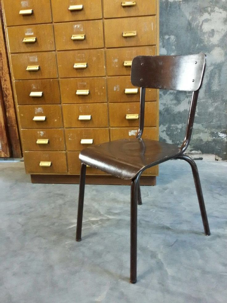 Vintage Industrial Dutch School Cafe Chairs 60s # 1402 Brown/red