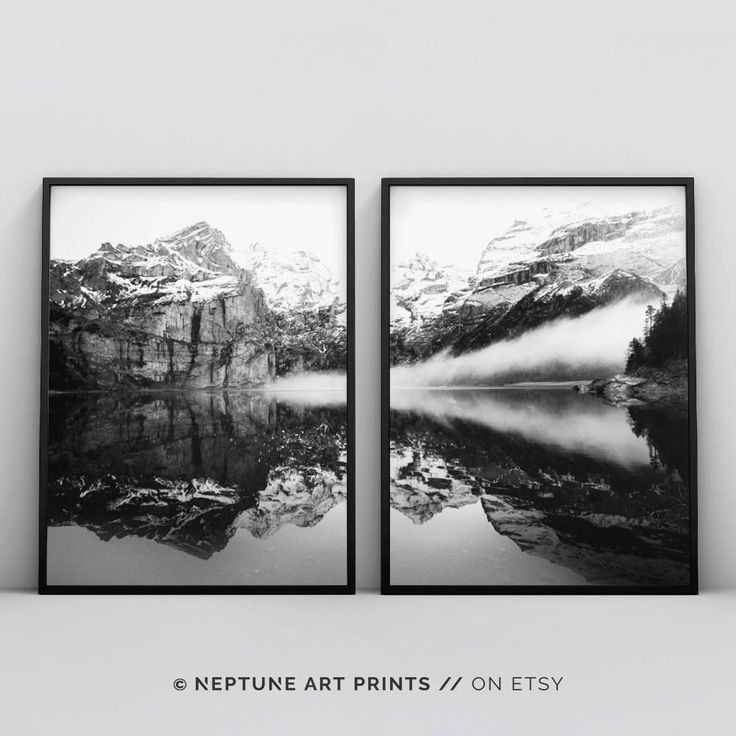 Printable art is an easy and affordable way to personalize your home or office. You can print from home, your local print shop, or upload the files to an online printing service and have your prints delivered to your door! Reflection Mountain Print, Black and White Wilderness