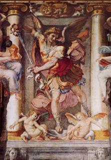 Pellegrino Tibaldi, L'arcangelo Michele, particolare della decorazione a fresco, Sala Paolina, Castel Sant' Angelo, Roma