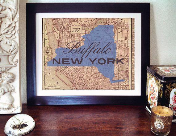 Buffalo Map Print  Buffalo New York Map Print  New by AGierDesign, $20.25