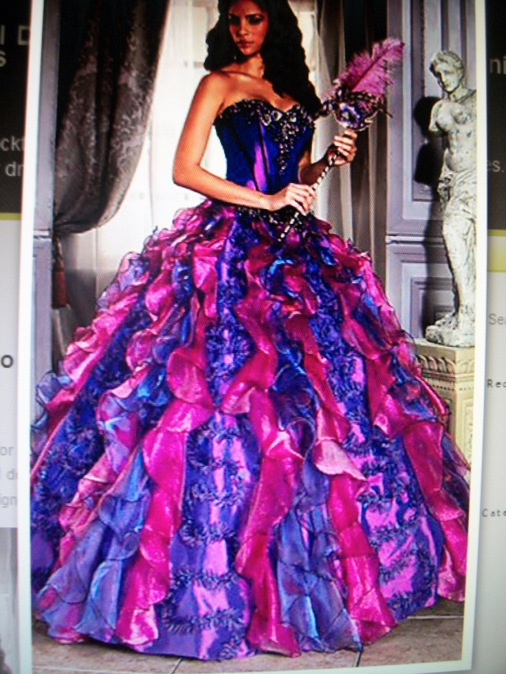 Pink and purple sweet 16 dresses