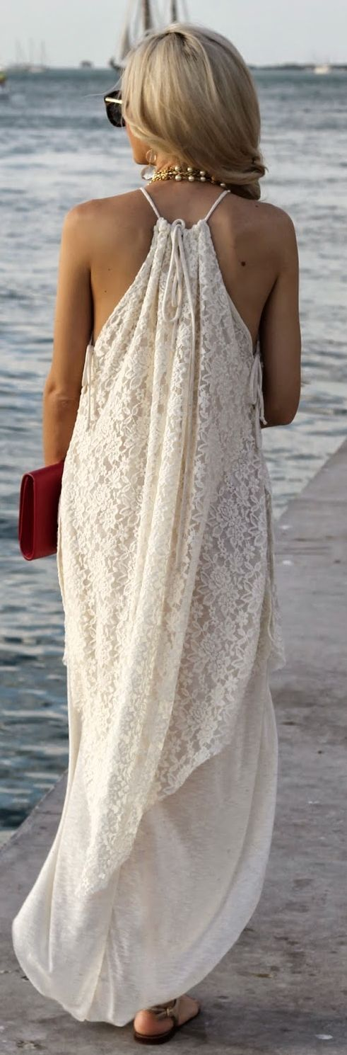 ♔ White 70's Lace Rounded Hem Maxi Halter Dress by A spoonful of Style