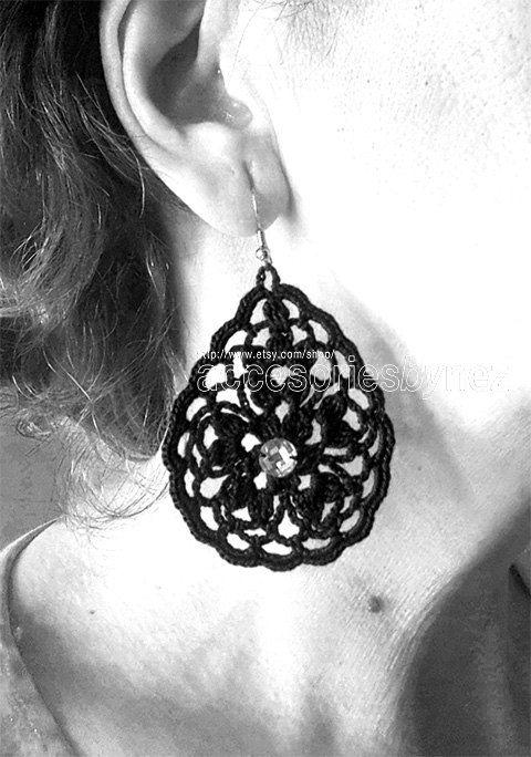 PDF Crochet Earrings Pattern Pendant Necklace by accessoriesbynez