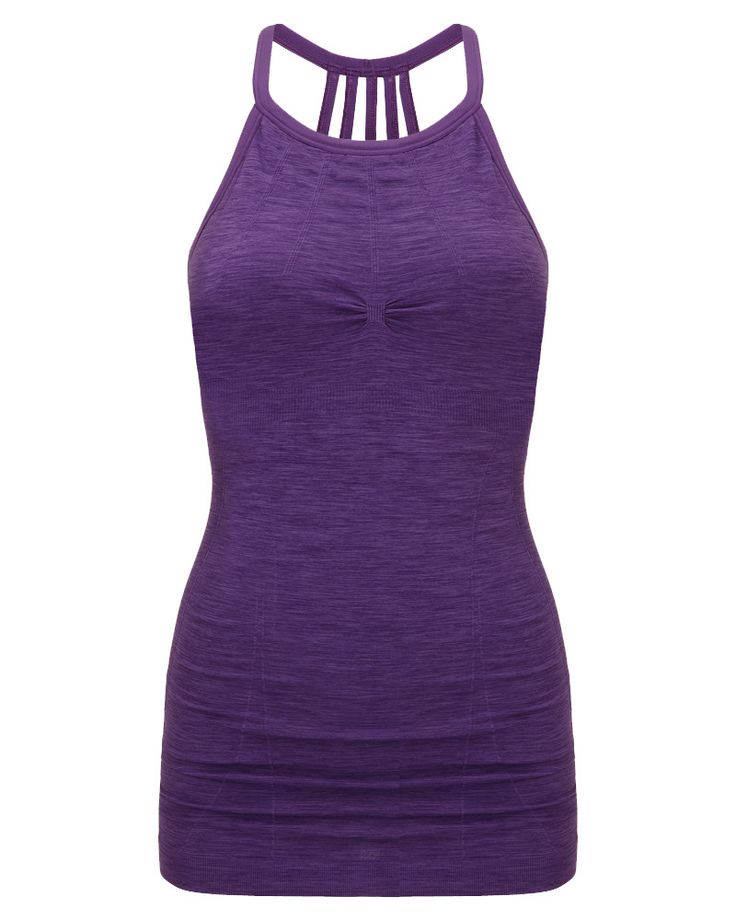 Seamless high-stretch cami with flattering jacquard panels and built-in bra with removable pads. A specially-designed top for yoga, this sweat-wicking vest offers a full-range of movement with a high neckline that segues into a beautiful five-strap back.