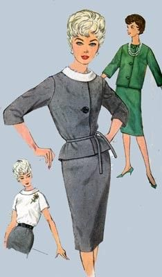 Vintage 60s Sewing Pattern Simplicity 4111 MOD Slim Suit Skirt and Blouse Size 16 Bust 36. $16.00, via Etsy.