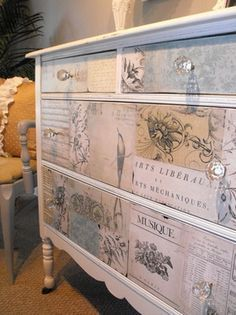 Decoupaged Shabby Chic Dresser - a dresser gets a facelift with white paint and paper decoupaged to the drawer fronts - Provencal Decor