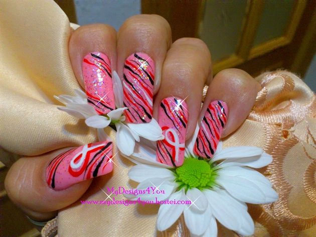 Brustkrebs-Bewusstseinsnagelentwurf durch MyDesigns4you – Nail Art Gallery nailartg …   – Breast Cancer Awareness Nail Art