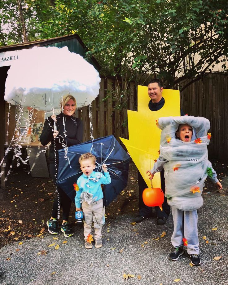 A Stormy Family!! Tornado, lightning bolt, rain cloud, weather man
