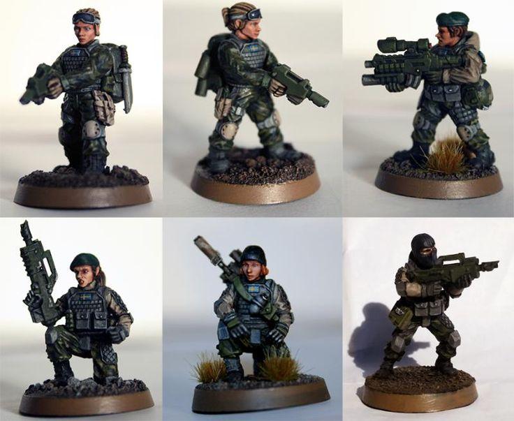 Airborne, Amf1, Anvil Industry, Astra Militarum, Conversion, Droptroops, Elysian, Female, Imperial Guard, M90, Modern, Operators, Swebat, Swedish, Veteran