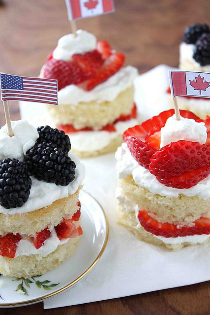 Blackberry & Strawberry Lemon Cakes Recipe for Fourth of July & Canada Day by CookinCanuck, via Flickr
