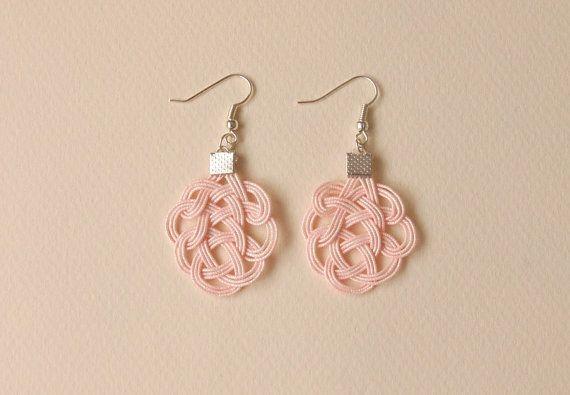 Mizuhiki Earrings Pink pale Everyday Jewelry by TezukuriMania