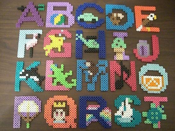 A-T Alphabet perler beads