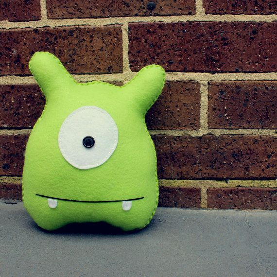 Jack   Green Felt Monster Soft Toy by babua on Etsy, $17.95