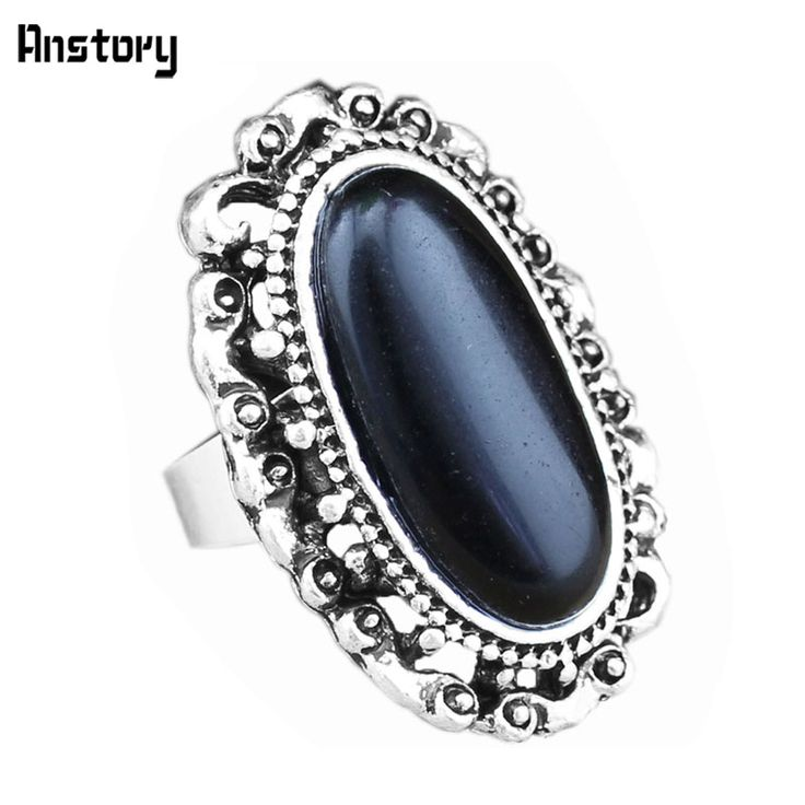 Vintage Look Antique Silver Plated Fantastic Oval Flower Bead Adjustable Black Turquoise Rings R327