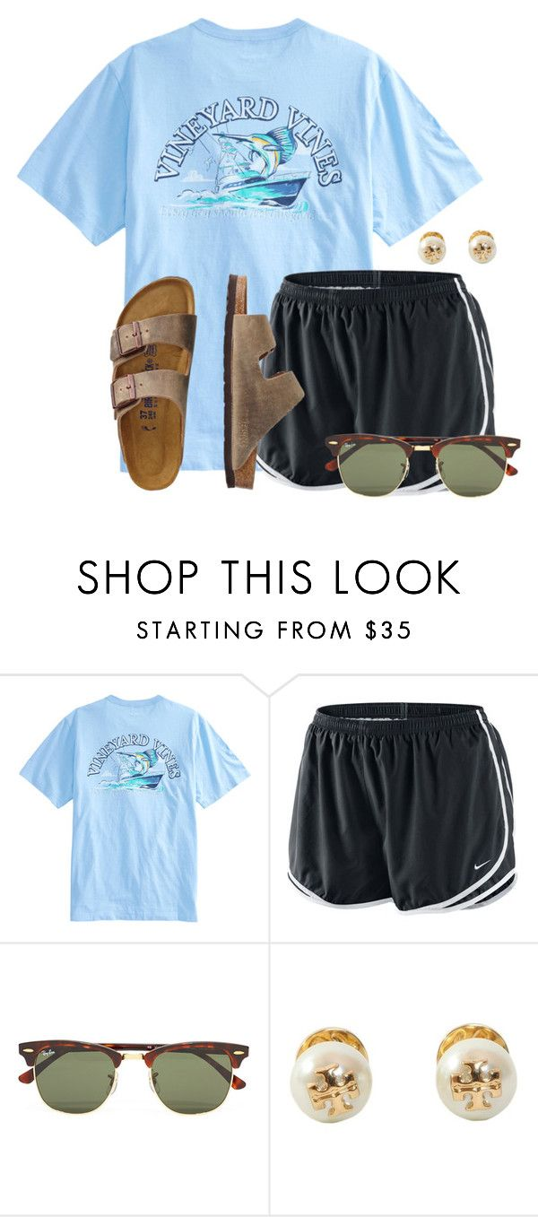 """""""A lot of people got asked to homecoming today:)"""" by flroasburn ❤ liked on Polyvore featuring NIKE, Ray-Ban, Tory Burch and TravelSmith"""