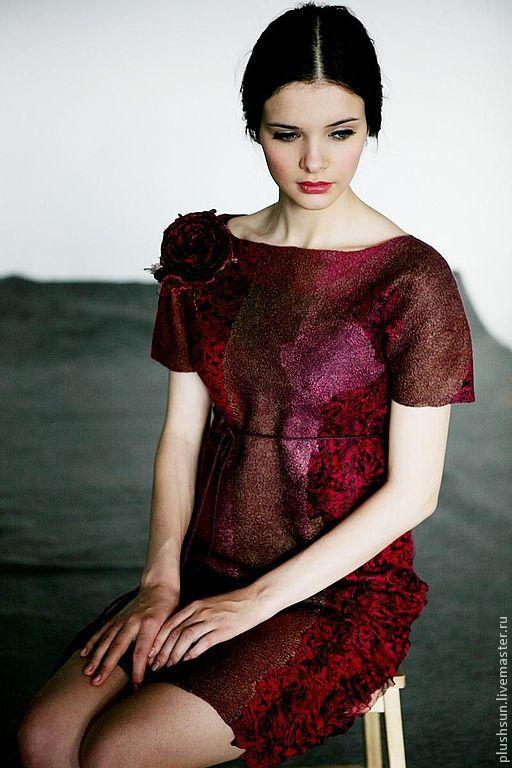 Валяное платье «Cherry wine» - бордовый,винное,вишневое платье,платье валяное