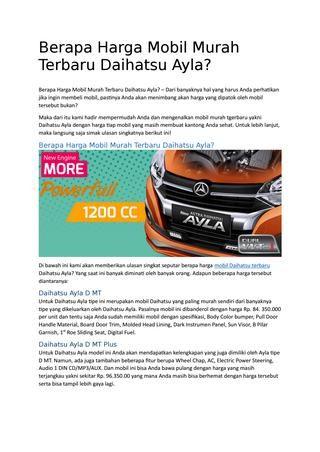 Berapa harga mobil murah terbaru daihatsu ayla | Daihatsu ...