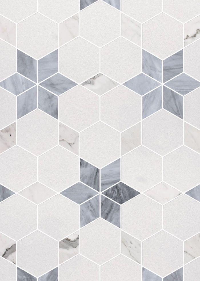 Heartwell Mosaic Calacatta THassos Bardiglio Marble Tile