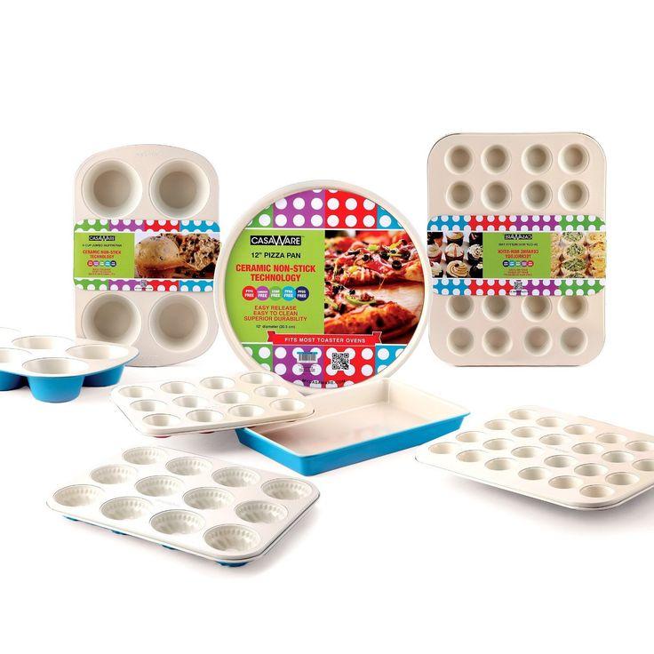 casaWare Ceramic Coated Non-Stick 12-Inch Pizza Pan (Cream/Blue)