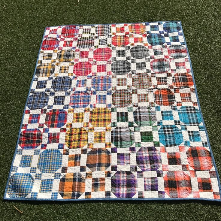 "This quilt will make a perfect gift for Dad: Chequered manshirting fabric for the front and dark backing with horseshoes prints make this quilt very unique and with more of a manly flavour than many others.    100% Cotton 46""x85"" - 117x148cm"