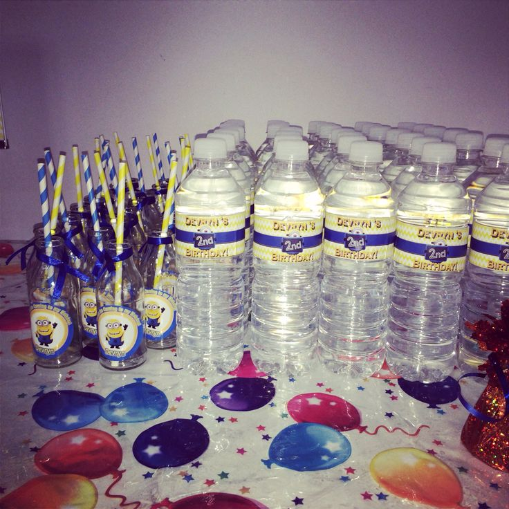 Minion water bottles and personalised mini milk bottles