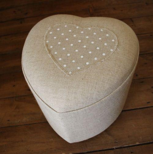 Natural polka dot heart shaped foot stool