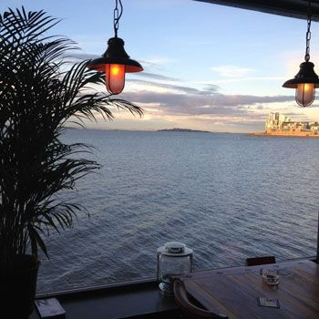 Views out over the River Forth fromThe Old Chain Pier in Edinburgh. Pubs with a view!