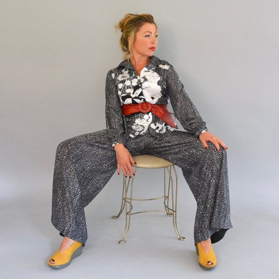 70s Pantsuit Vintage Seventies Flared Leg Palazzo by Day17Vintage
