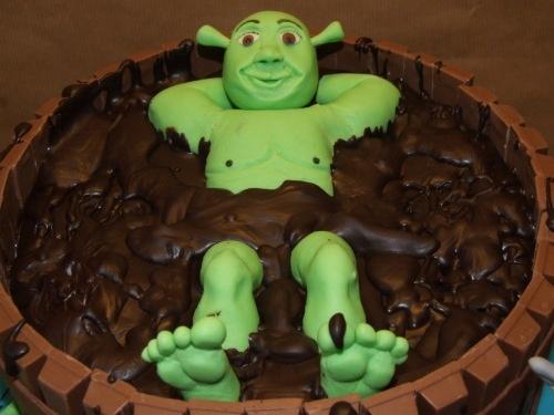 shrek in een modderbad-taart @Lisa Bonk-Barnes
