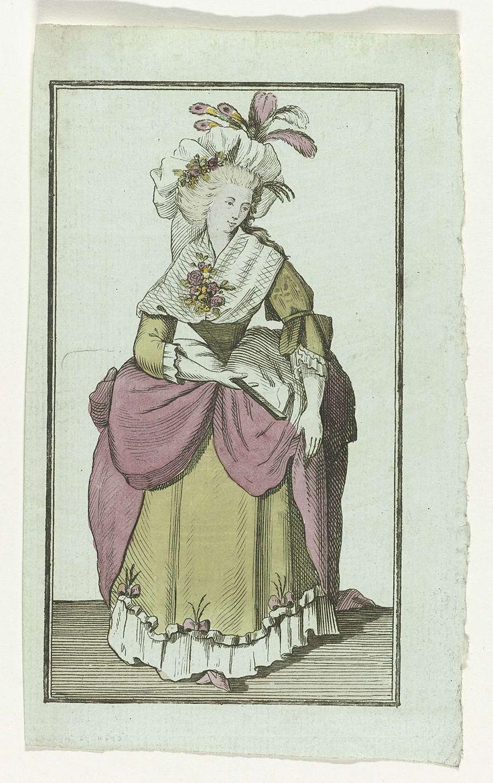 Anonymous | Merché à Lille, 1787, Anonymous, A.B. Duhamel, Mitan, 1787 | Engelse vrouw in hofjapon. Lijfje van groen satijn en 'mante' van roze satijn. Muts versierd met bloemen en veren. Fichu en bloemcorsage. Waaier in de hand. De prent is een gespiegelde kopie naar 20 décembre 1786, 4e cahier, Pl.  1 van Magasin des Modes Nouvelles Françaises et Anglaises, uitgegeven door Buisson, Parijs, 20 november 1786 - 21 décembre 1789.