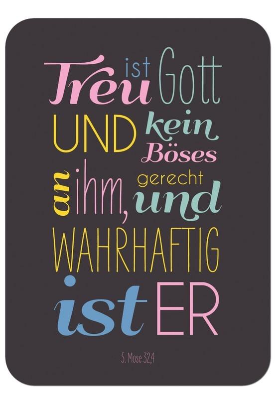 """Postkarte - Treu ist Gott, Bibelvers auf der Karte: """"Treu ist Gott und kein Böses an ihm, gerecht und wahrhaftig ist er."""" - 5.Mose 32,4"""