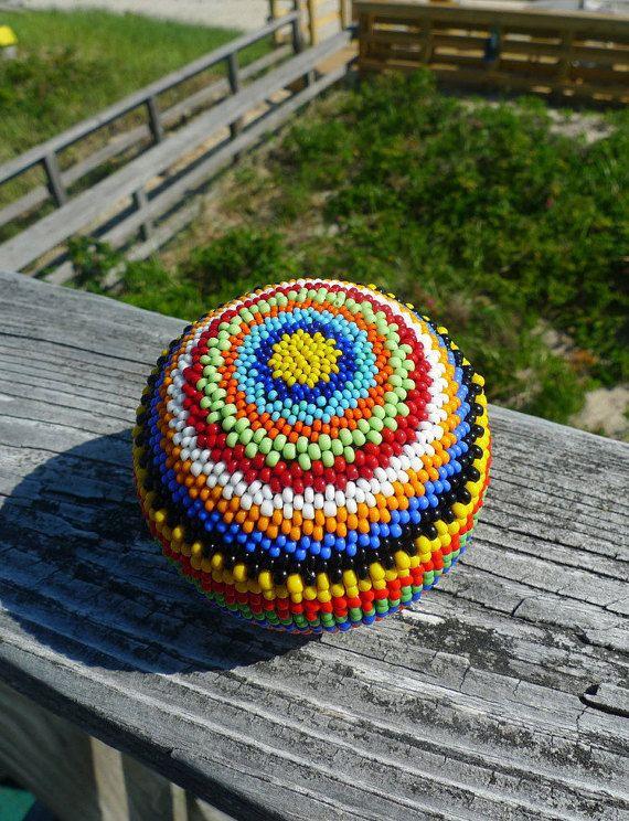 Handmade Striped Rainbow Beaded Ball Sphere 1 by TheBeadedEgg