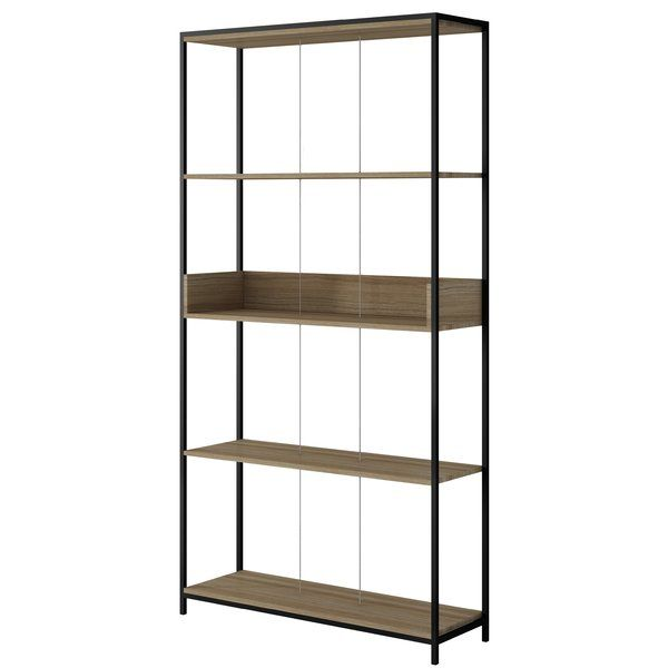 This bookcase is industrial-chic meets modern design and quality craftsmanship. Dark oak shelves and a black steel frame polish off the durable open shelving and a roped center are sectioned off, perfect for showcasing novels, travel trinkets, photography, vases and all of your favorite items. Sophisticated and functional, this piece blends well with any decor and instantly creates a statement in any space.