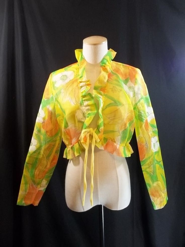 Bolero Cropped jacket Vintage Floral Montgomery Ward S to M #MontgomeryWard #BoleroShrug #Formal