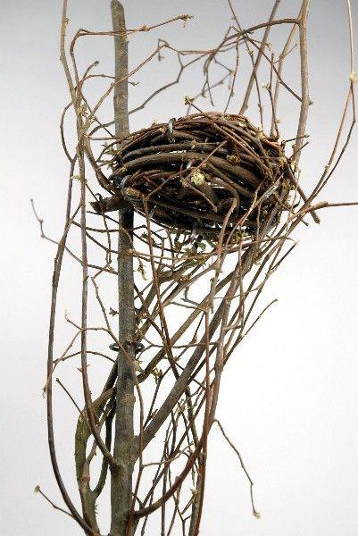 Bird Nest on Branch 24in