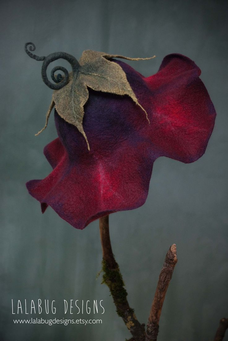 morning glory pixie hat in deep red with highlights of pink, purple, and black   ???