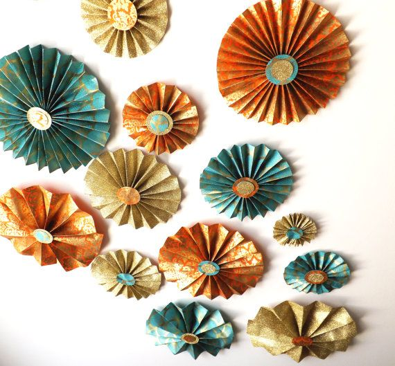 Moroccan Wedding Teal and Orange Gold Foil by FioriBelle, $120.00