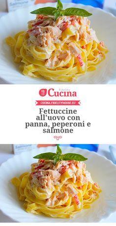 Fettuccine all'uovo con panna, #peperoni e #salmone della nostra utente Giovanna. Unisciti alla nostra Community ed invia le tue ricette!