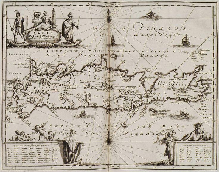 Χάρτης της Κρήτης. - DAPPER, Olfert - ME TO BΛΕΜΜΑ ΤΩΝ ΠΕΡΙΗΓΗΤΩΝ - Τόποι…
