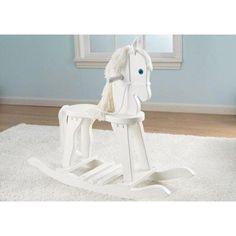 Juguete de madera balancín mecedora con forma de caballo. Fabricado en madera ideal para regalo de niños y niñas y para decoración de habitaciones infantiles.