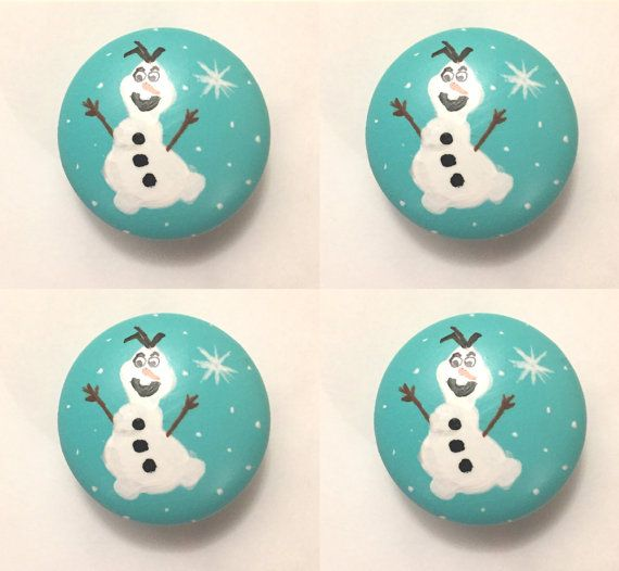 Olaf from Frozen Wooden Drawer Pull Knobs  by MeAndThingsTogether