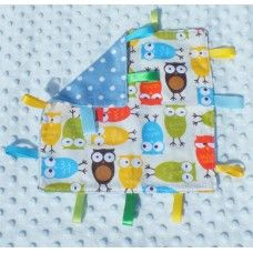 Quirky owls taggies blankie